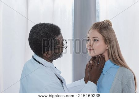 Doctor Palpating Lymph Nodes