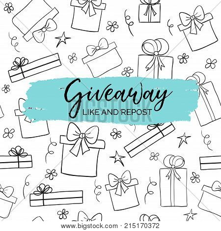 Giveaway minimal card for social media marketing. Background with hand drawn gift boxes
