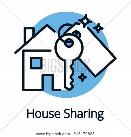House sharing, property share concept with key vector