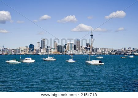 Auckland City Cbd With Boats In Foreground