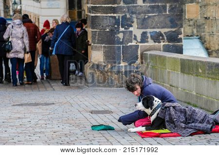 Prague, Czechia - November, 20, 2017: beggar on a street in the Old town of Prague, Czechia