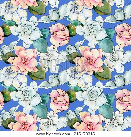 Wildflower gardenia flower pattern in a watercolor style. Full name of the plant: gardenia . Aquarelle wild flower for background, texture, wrapper pattern, frame or border.