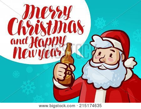 Merry Christmas and Happy New Year, greeting card. Holiday, xmas party banner. Lettering vector