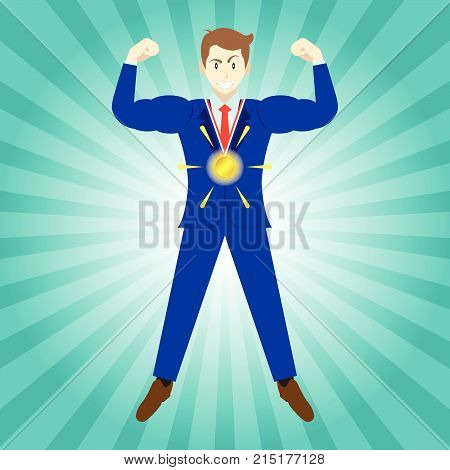 Business Concept As A Full-Energy Muscular Businessman Wears A Glowing Shining Gold Medal. It Means Strength Of Self Performance Deserves Ultimate Achievement Attainment Accomplishment.