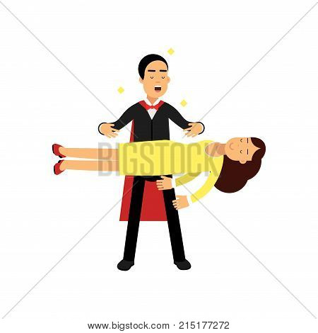 Magician in an elegant black suit performing levitation floating magic trick, circus performer vector Illustration isolated on a white background
