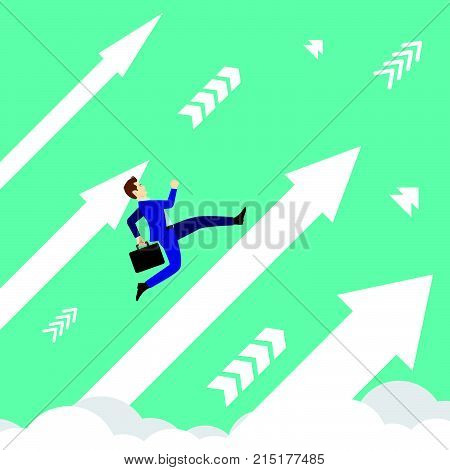 Business Concept Designed As A Businessman Is Running Upward In High Speed On White Arrows Among The Sky. He Is Straight To New Opportunity With Full Motivation Attempt And Encouragement.