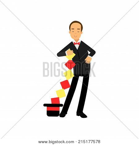Magician in an elegant black suit and red cape performing trick, circus performer vector Illustration isolated on a white background