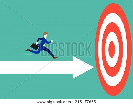 Business Concept Designed As A Businessman Is Running Forward In High Speed On White Arrows To The Target. He Is Straight To Succeed The Goal With Full Motivation Attempt And Encouragement.
