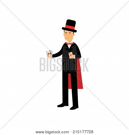 Magician in an elegant black suit and red cape performing trick with playing cards, circus performer vector Illustration isolated on a white background