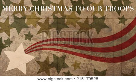 Merry christmas to our Troops. Stars and Stripes on Wood Background
