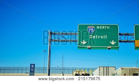 Detroit Michigan Interstate. Northbound I 75 with traffic during rush hour in Detroit Michigan.