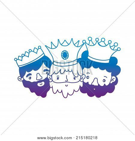 The three wise men of merry christmas and nativity scene theme Isolated design Vector illustration