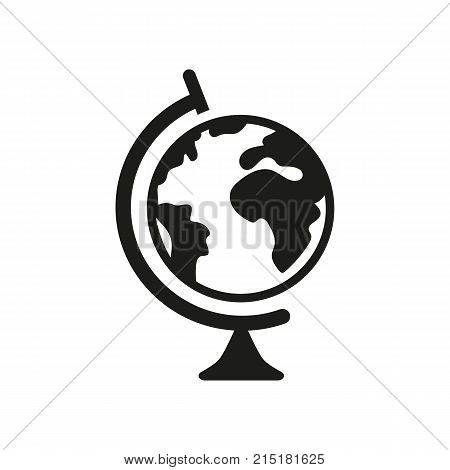 Simple icon of globe. Geography, world map, traveling. School classrooms concept. Can be used for topics like science, travel, tourism