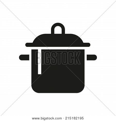 Simple icon of saucepan. Cooking, houseware, soup. Mall wayfinding concept. Can be used for topics like kitchen, housework, food preparation