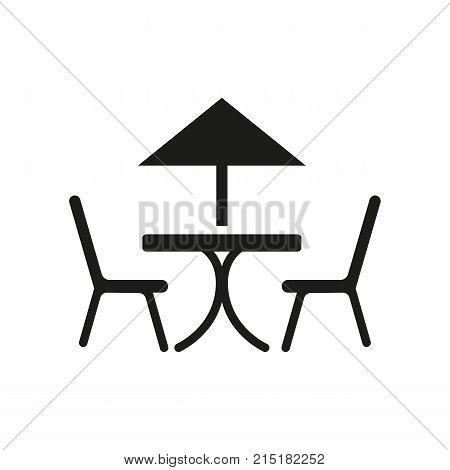 Simple icon of chairs and table under umbrella. Sidewalk cafe, break, lunch. Mall wayfinding concept. Can be used for topics like leisure, food service, vacation