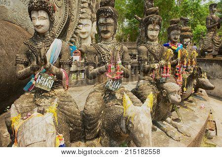 NONG KHAI, THAILAND - APRIL 15, 2010: Exterior of the sculptures in Sala Kaew Ku Sculpture Park in Nong Khai, Thailand.