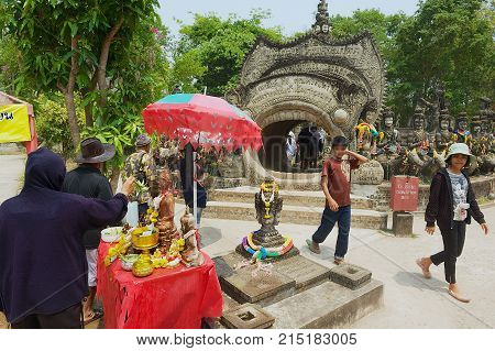 NONG KHAI, THAILAND - APRIL 15, 2010: Unidentified people visit Sala Kaew Ku Sculpture Park in Nong Khai, Thailand.