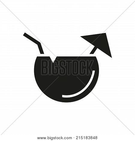 Simple icon of fruit cocktail with umbrella and straw. Tropical drink, coconut milk, juice. Beverage concept. Can be used for topics like drinks, travel, vacation
