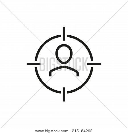 Portrait of man in crosshairs. Expert, leader, professional. Recruitment concept. Can be used for topics like head hunting, qualification, employment.