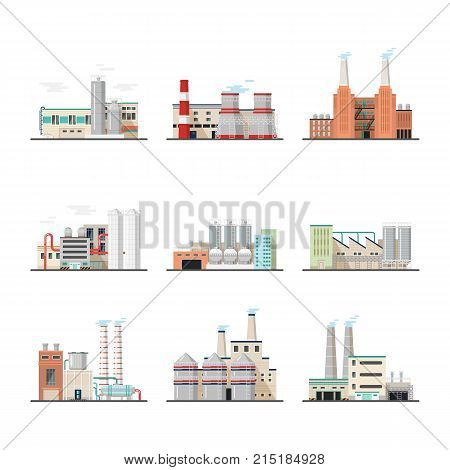 Set of isolated huge or big power stations. Heavy industry chemical plants and power factory. Constructions or buildings with chimney and pipe. Engineering and architecture, technology and hazard theme