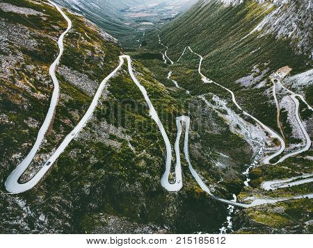 Trollstigen road in Norway serpentine scandinavian travel famous landmarks aerial view