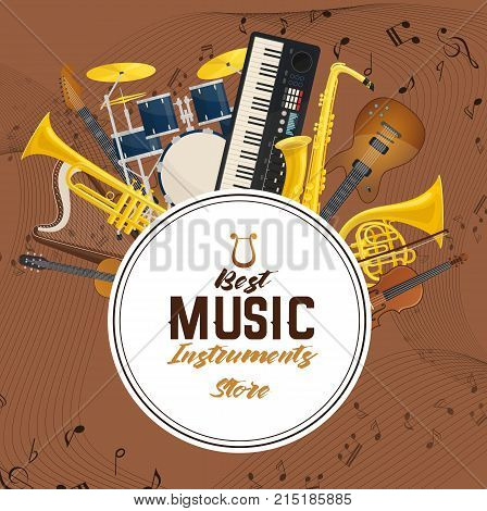 Music instruments with note notification with treble clefs. Rock guitar and classic violin, string lyre or harp and brass trumpet, saxophone or sax, drum kit or trap set. Record studio, concert theme