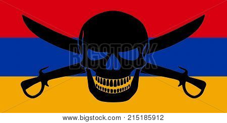 Pirate Flag Combined With Armenian Flag