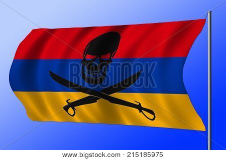 Waving Pirate Flag Combined With Armenian Flag