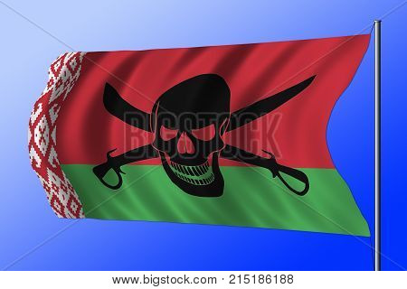 Waving Pirate Flag Combined With Belarusian Flag