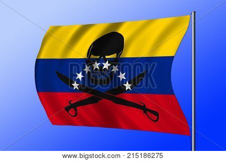 Waving Pirate Flag Combined With Venezuelan Flag