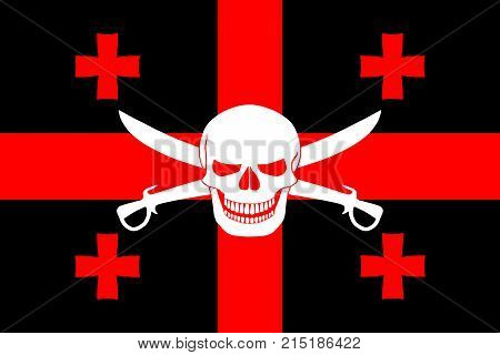 Pirate Flag Combined With Georgian Flag
