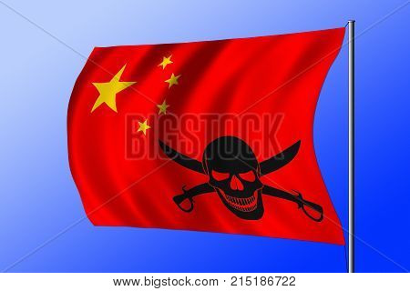Waving Pirate Flag Combined With Chinese Flag
