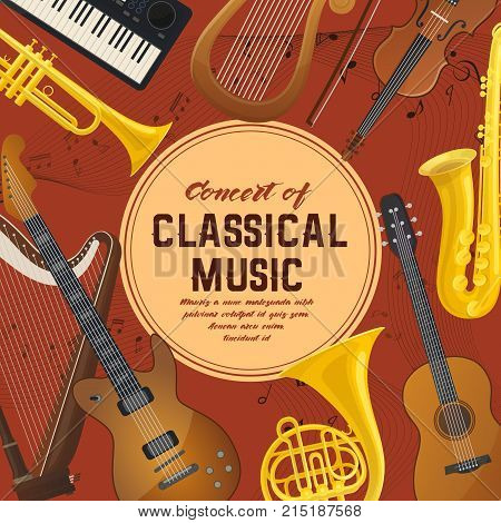 Classical music instruments like trumpet and saxophone or sax, acoustic guitar and violin with bow or fiddlestick, lyra and harp, electric keyboard. Ensemble and entertainment, audio shop or store