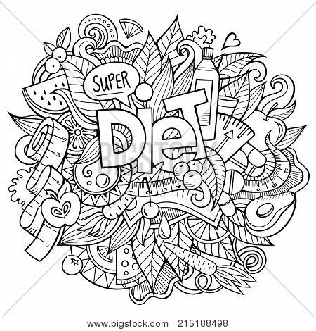 Diet hand lettering and doodles elements and symbols background. Vector hand drawn sketchy illustration