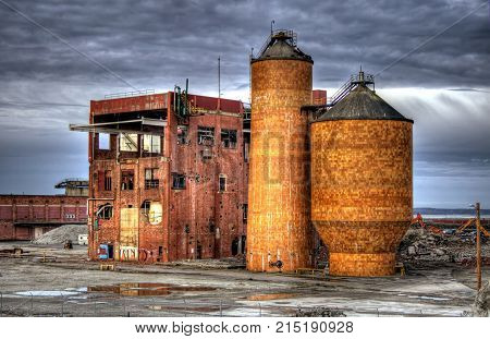 The old port of Bellingham grainery building as it is being ready to be torn down.
