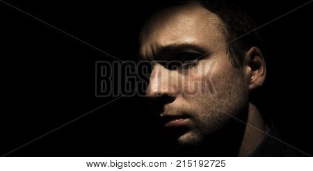 Closeup Studio Portrait Of Young European Man