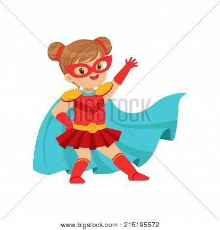 Comic brave kid in superhero red costume with mask on face and developing in the wind blue cloak, posing and waving her hand. Girl with extraordinary powers. Vector cartoon flat super child character.