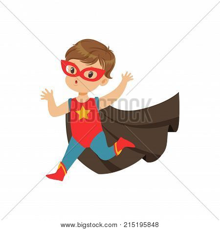 Comic cute brave kid in superhero costume with star, red mask and developing in the wind black cloak, running with hands up. Child with extraordinary abilities. Vector cartoon flat super boy character
