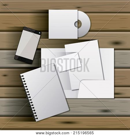 stationary templates of documentation blank design of business stationery over wooden background vector illustration