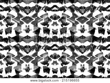 Aztec pattern. Tribal design. Geometric seamless pattern. Navajo triangles and stipes design. Aztec mayan ethnic background. Watercolor abstract geometric graphic wallpaper. Native american modern art