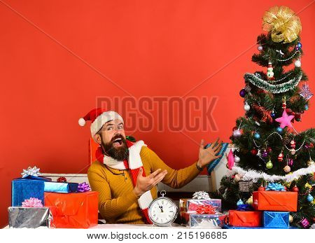 Man With Beard And Excited Face Gets Ready To Celebrate