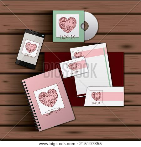 stationary templates of documentation romantic date design of business stationery over wooden background vector illustration