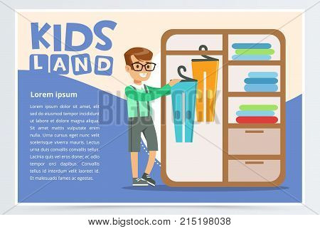 Blue card or poster with boy hangs clothes in the closet. Kid doing a home cleanup, household chores. Teenager cleaning his room. Children helping parents concept. Colorful flat style cartoon vector.