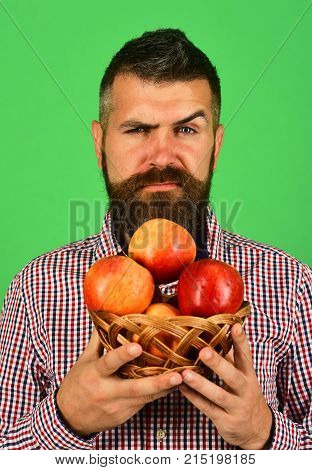 Guy Presents Homegrown Harvest. Farmer With Seductive Face