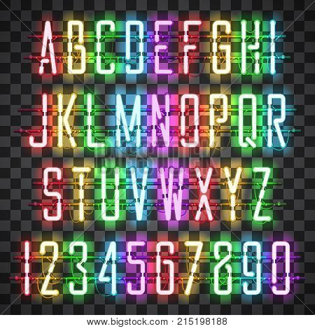 Glowing Multi Colors Neon Casual Script Font with uppercase letters from A to Z and digits from 0 to 9 with wires, tubes, brackets and holders. Shining and glowing neon effect. Vector illustration.
