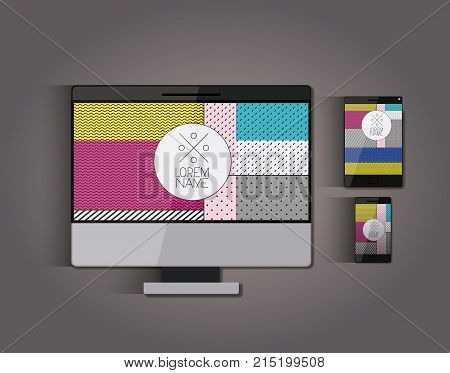 stationary templates with tech devices texture corporate image in screen on gray background vector illustration