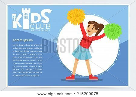 Creative blue poster for kids club with happy teenager girl cheerleader dancing with pom poms. Entertainment or development center promo. Extra-curricular activities. Colorful flat vector character.