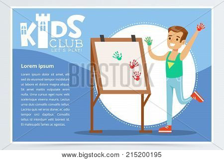Kids club blue poster with cheerful boy painting with hands. Creative child practicing arts in art class. Entertainment or development center. Happy childhood activity concept. Colorful flat vector.