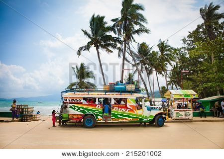 SABANG, PHILIPPINES-MARCH 27, 2016,  Local people travel with public traditional transportation at Palawan island on March 27, 2016, Philippines.