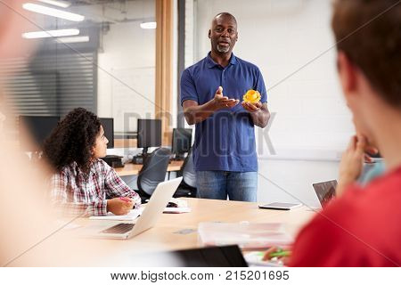 Teacher In Lesson For College Students Studying CAD/3D Design